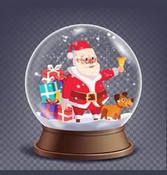 xmas empty snow globe santa claus ringing vector image