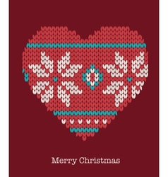 Xmas heart ornaments - seamless knitted background vector image