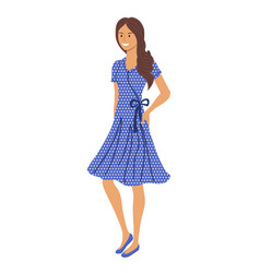 young woman in summer style dress standing on vector image