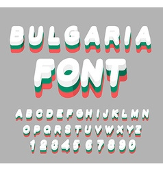 Bulgaria font Bulgarian flag on letters National vector image