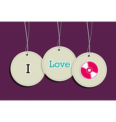 Hanging i love music badges vector image