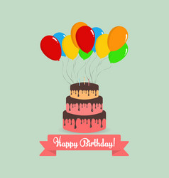 happy birthday cake with balloons and lettering vector image