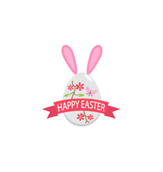 happy easter egg with ribbon bunny ears flat icon vector image