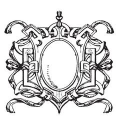 Renaissance strap-work frame is french design vector