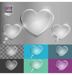 Set of glass speech bubble heart icons with soft vector image