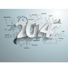 White tags with 2014 text on business success vector image vector image