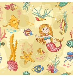 Yellow seamless pattern with mermaid vector image