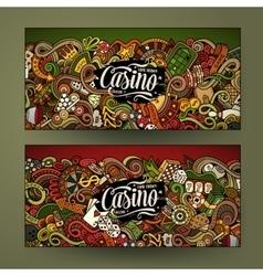 Cartoon line art doodles casino banners vector image