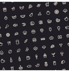 Dark Tilted Seamless Pattern with Light Food Icons vector image vector image