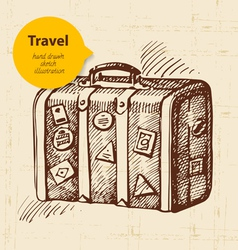 Vintage background with travel suitcase vector image vector image