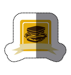 yellow emblem sandwich fast food icon vector image