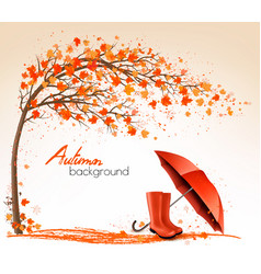 Autumn banners with trees and umbrella and rain vector