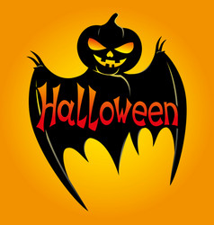 black bat with pumpkin head vector image