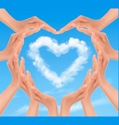 holiday background with hands making a heart vector image