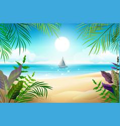 paradise tropical beach landscape coastline palm vector image