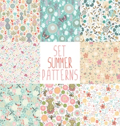 set of seamless floral backgrounds vector image