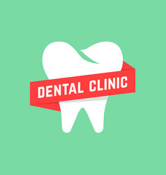 dental clinic with red banner vector image vector image