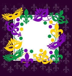 mardi gras elegant frame place for your text vector image