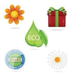 shiny nature green creative sign set vector image vector image