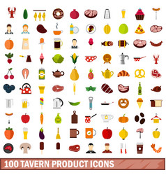 100 tavern product icons set flat style vector