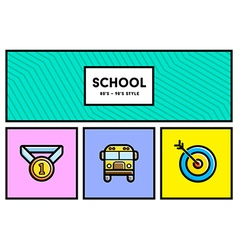 80s or 90s stylish school education icon set vector