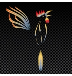Abstract a fiery rooster with a vector