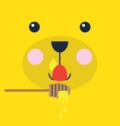 Abstract cartoon teddy bear face licking honey vector