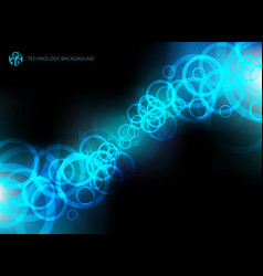 abstract technology blue circles motion on black vector image