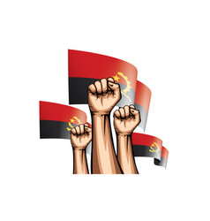 Angola flag and hand on white background vector
