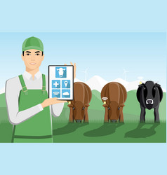 Asian farmer with digital tablet on a pasture vector