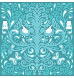 Beautiful floral pattern with owl vector image
