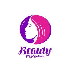 beauty salon logo portrait beautiful young vector image