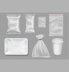 Big set plastic packaging - sacks tray cup vector