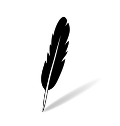 black and white flat simple feather icon with vector image