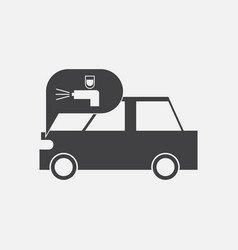 Black icon on white background car and sound vector