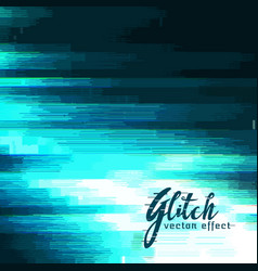 Blue glitch background for data crash vector