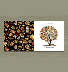 Books library greeting card design vector