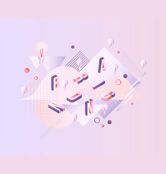 branding word design - isometric letters scattered vector image