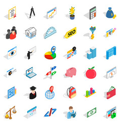 Brick icons set isometric style vector