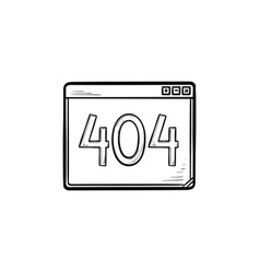 Browser window with inscription 404 error hand vector