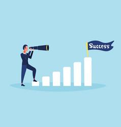 businessman looking binocular ladder business vector image