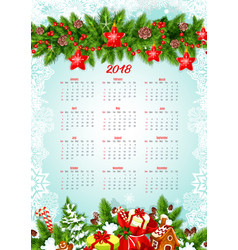 Calendar template with christmas garland and gifts vector
