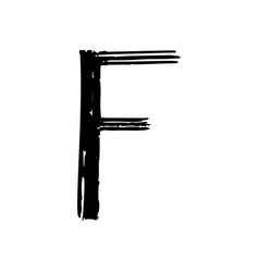 Capital letter f painted by brush vector
