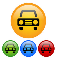 car icon with automobile pictogram in yellow vector image
