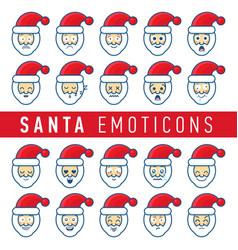 cartoon set of different santa claus faces vector image