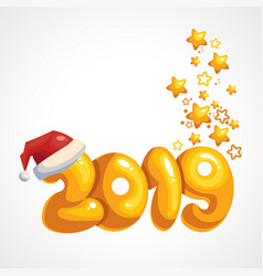 cartoon yellow inscription 2019 in the santas hat vector image