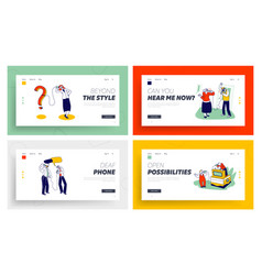 characters using deaf phone landing page template vector image