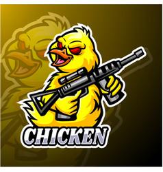 chicken esport logo mascot design vector image