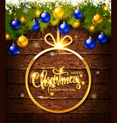 christmas gift card with christmas bauble vector image
