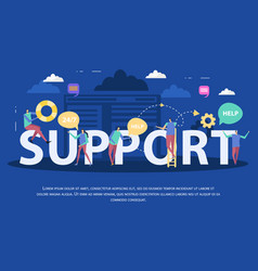 client support service flat composition vector image